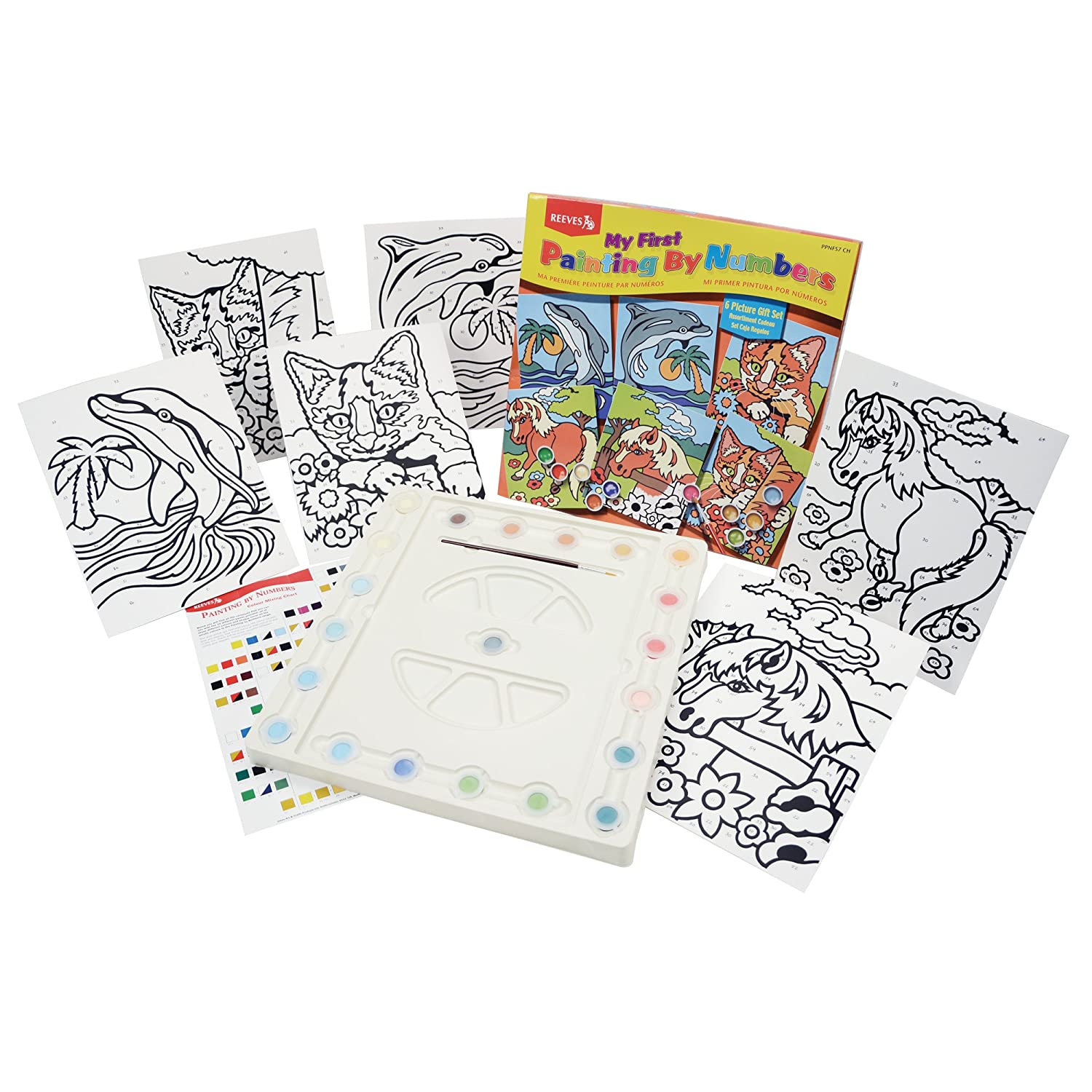 amazon com reeves my first painting by numbers gift set arts