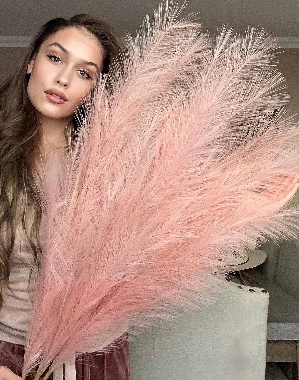 VOULUX Pink Fake Artificial Faux Pampas Grass Large Bundle x3 Tall 115cm 45