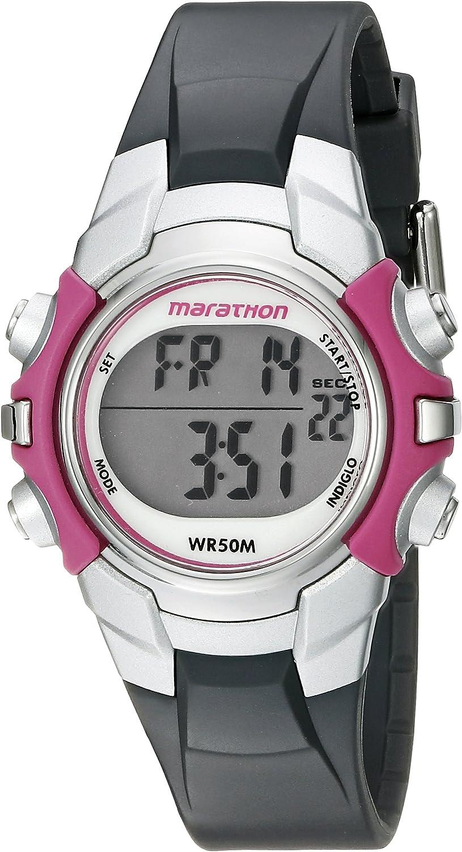 Marathon by Timex Women's T5K646 Digital Mid-Size Gray/Pink Resin Strap Watch: Timex: Watches