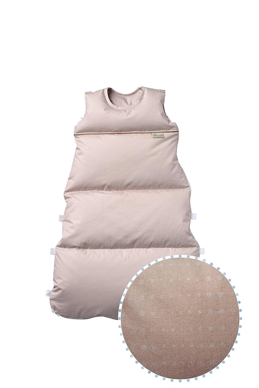 80 cm Alterskl ca 3-20 Monate l/ängenverstellbar Premium Daunenschlafsack creme