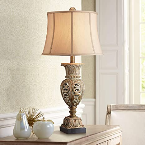 Grand Rue Traditional Table Lamp Washed Gold Open Urn Beige Bell Shade for  Living Room Family Bedroom Bedside Nightstand Office