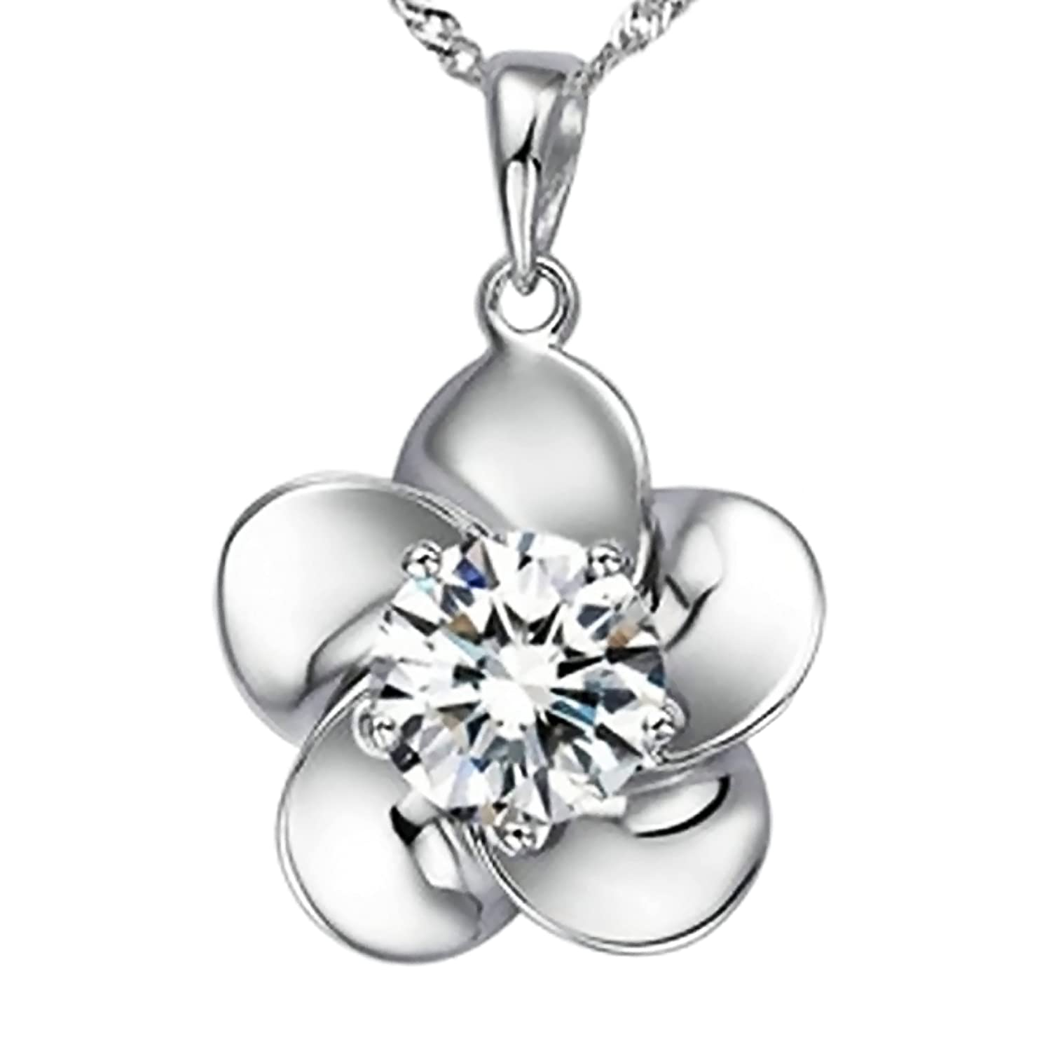 """""""Blossoming Ecstacy"""" Sterling Silver Flower Pendant Necklace"""