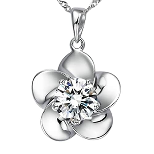 Pearl of Dream Blossoming Ecstacy Sterling Silver Flower Pendant Necklace