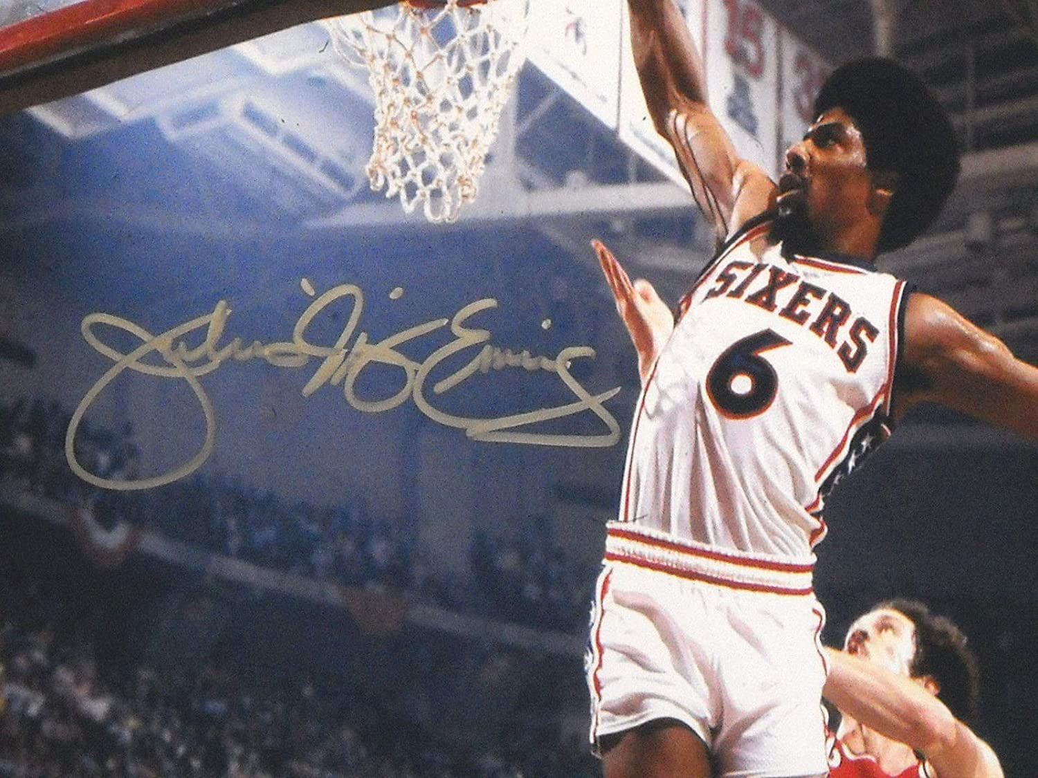 cacc61be306 JULIUS ERVING AUTOGRAPHED PHILADELPHIA 76ERS 16X20 PHOTO AASH DR J SIXERS  at Amazon s Sports Collectibles Store