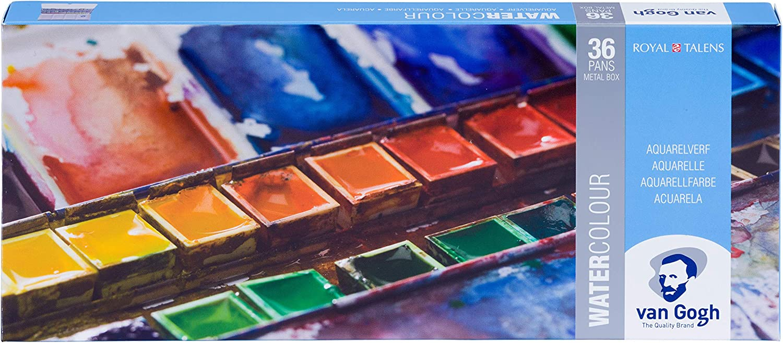 Royal Talens, Van Gogh - Juego de acuarelas lisas, en caja de metal, con un surtido de 36 colores: Amazon.es: Juguetes y juegos