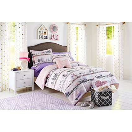 Amazon.com: 3 Piece Girls Peach Pink Paris Street Comforter ...