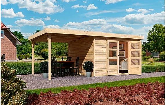 Karibu – Jardín Casa Arnis 5, BXT: 302 x 246 cm, con tejado de arrastre (aprox. 220 cm de ancho), color natural: Amazon.es: Jardín