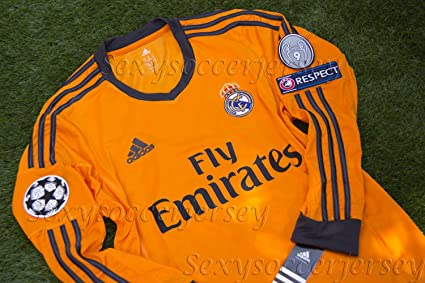 de831c7e0cc GARETH BALE  11 LS NEW 2013-14 UCL REAL MADRID 3RD ORANGE SOCCER JERSEY