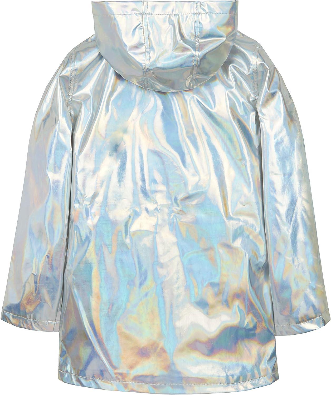Metzuyan Infant Girls Iridescent Shiny Rain Coat Hood 5-6 Years Silver