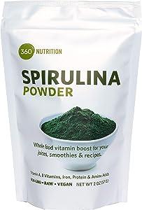 Spirulina Superfood Powder, Vitamins A, B, Iron, Protein & Amino Acids, 2 oz