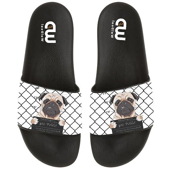 90b3d510c7f7 Funny Cartoon Bad Dog Pug Prisoner Summer Slide Slipper For Men Women Boy  Girl Outdoor Beach Sandal Shoes  Amazon.ca  Clothing   Accessories