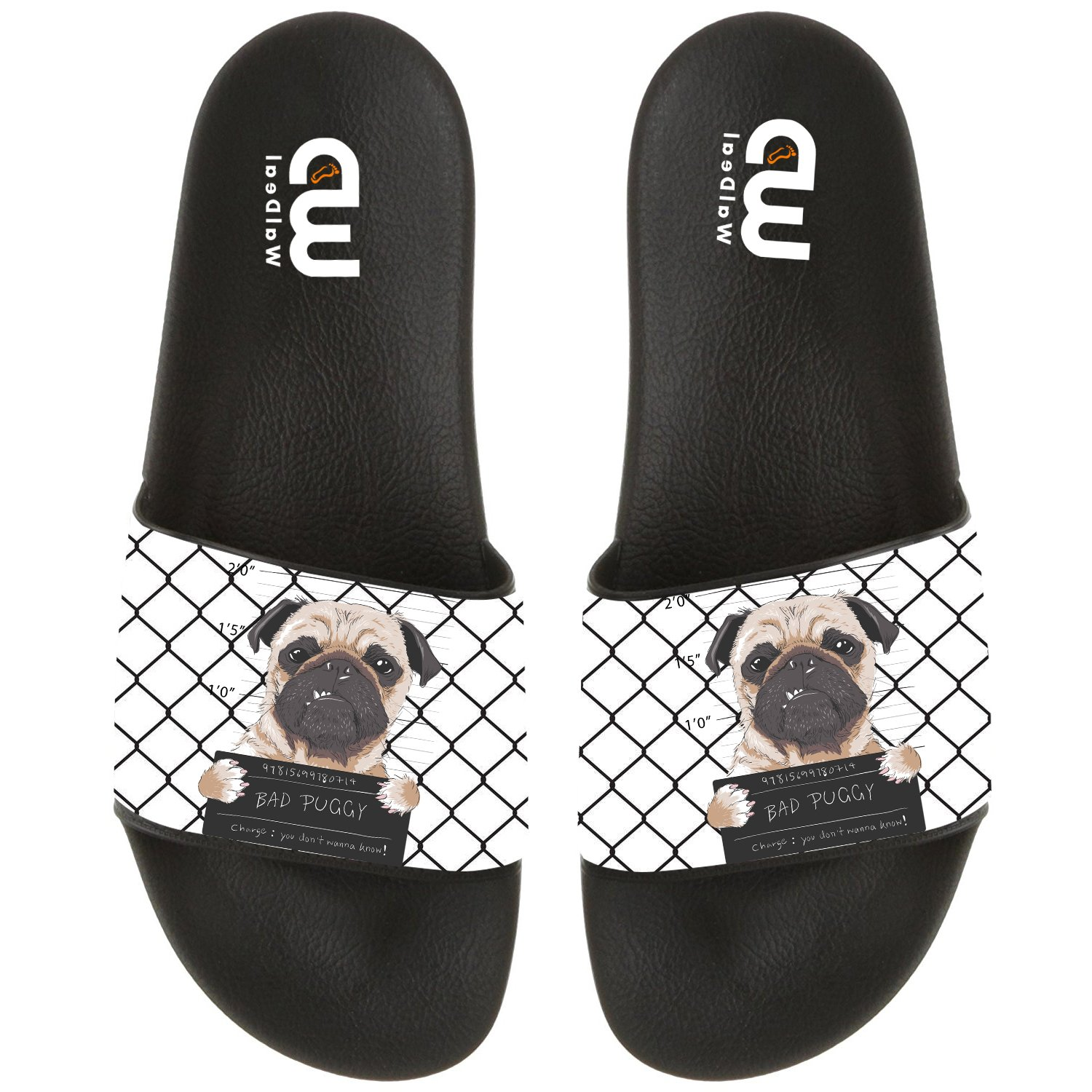 Funny Cartoon Bad Dog Pug Prisoner Summer Slide Slippers For Boy Girl Outdoor Beach Sandal Shoes size 3