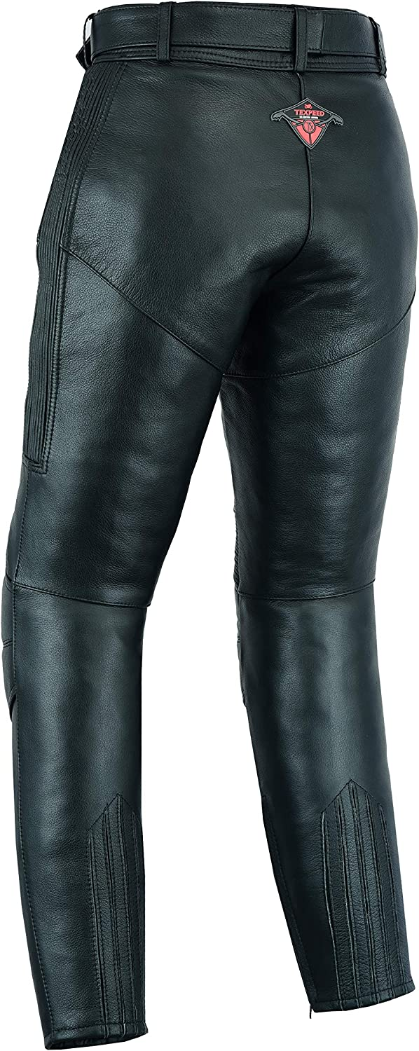 Texpeed Ladies Cowhide Leather Motorcycle Trousers With Removable CE Armour
