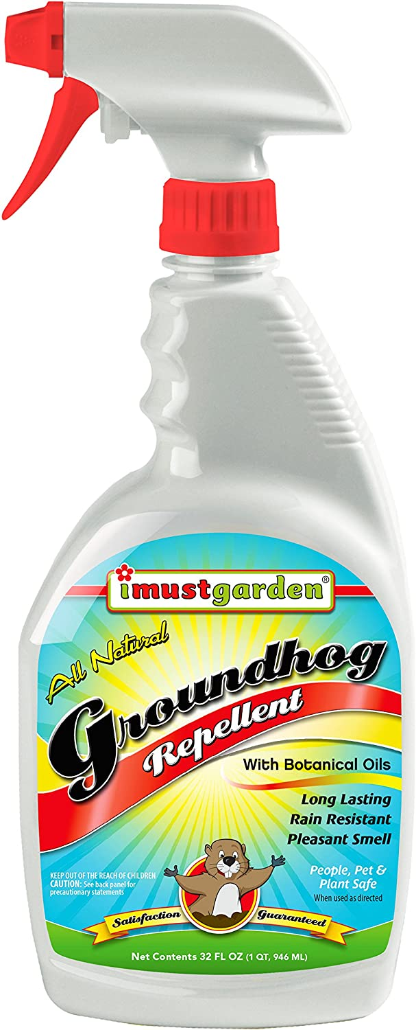 I Must Garden Groundhog/Woodchuck Repellent: All Natural Spray for Gardens, Plants, and Lawns – Pleasant Scent - 32oz Easy Spray Bottle
