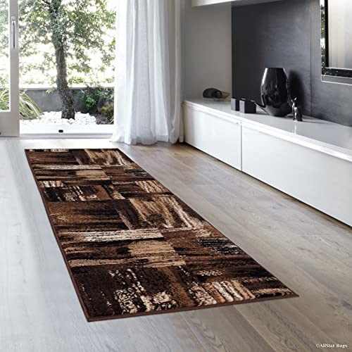 Allstar 2×7 Chocolate and Mocha Modern and Contemporary Runner with Ivory and Espresso Abstract Bidirectional Brush Design 1 11 x 6 11