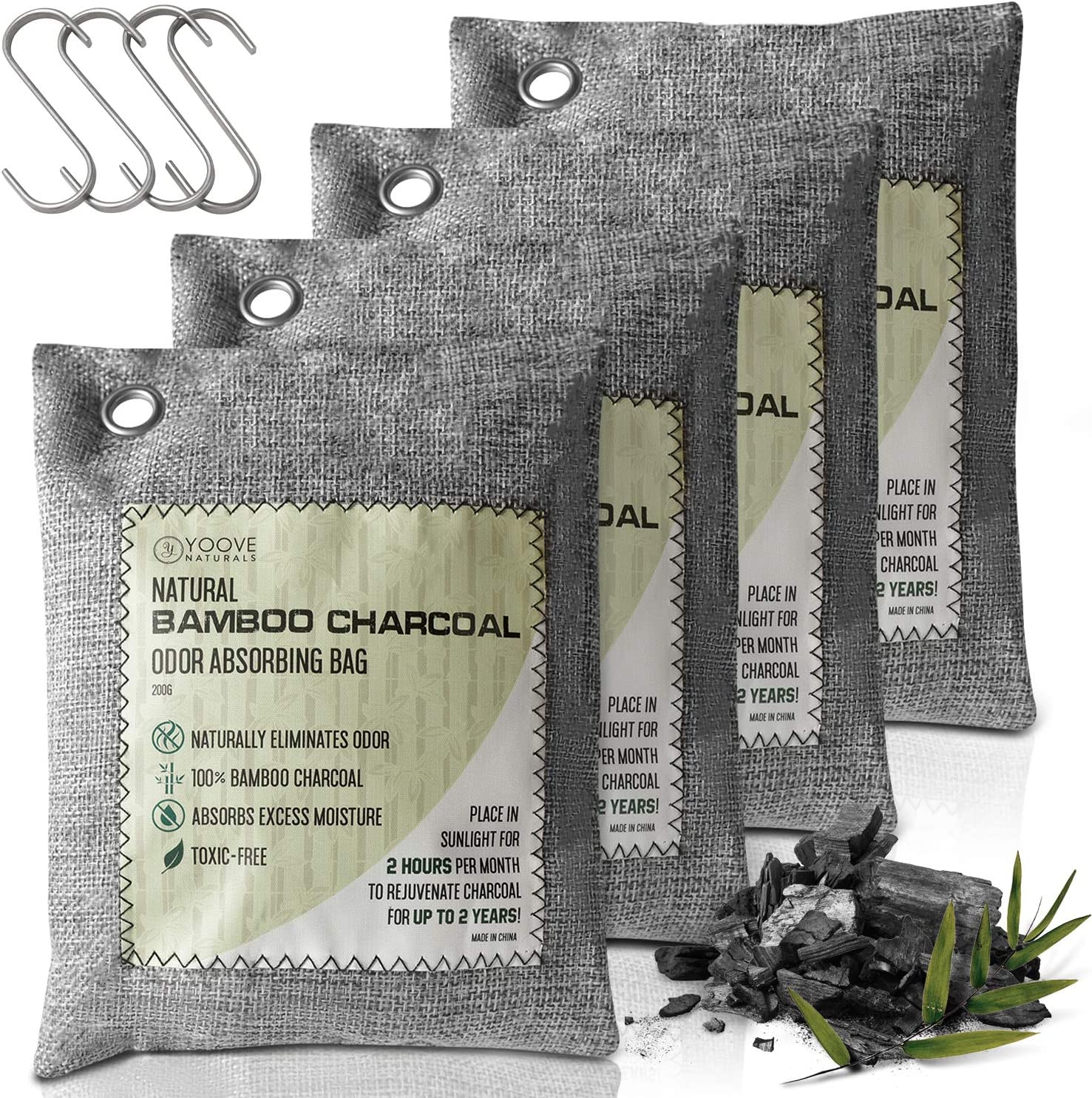 Bamboo Charcoal Air Purifying Bag | Powerful Odor Absorber for Home, Car & Commerical Use (Kids & Pet Friendly) | 4 Bags of 200G Activated Charcoal (Grey)