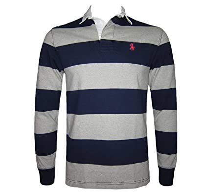 1f0eb3a68e6 Ralph Lauren Polo Men s Luxury Stripe Rugby Shirt Denim Collar Navy S M L
