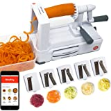 Spiralizer 5-Blade - Vegetable Slicer with Catch & Store Container and stainless steel blades -Heavy Duty base -free ios app with recipes and videos