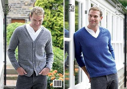 Amazon King Cole Mens 4 Ply Knitting Pattern V Neck Sweater
