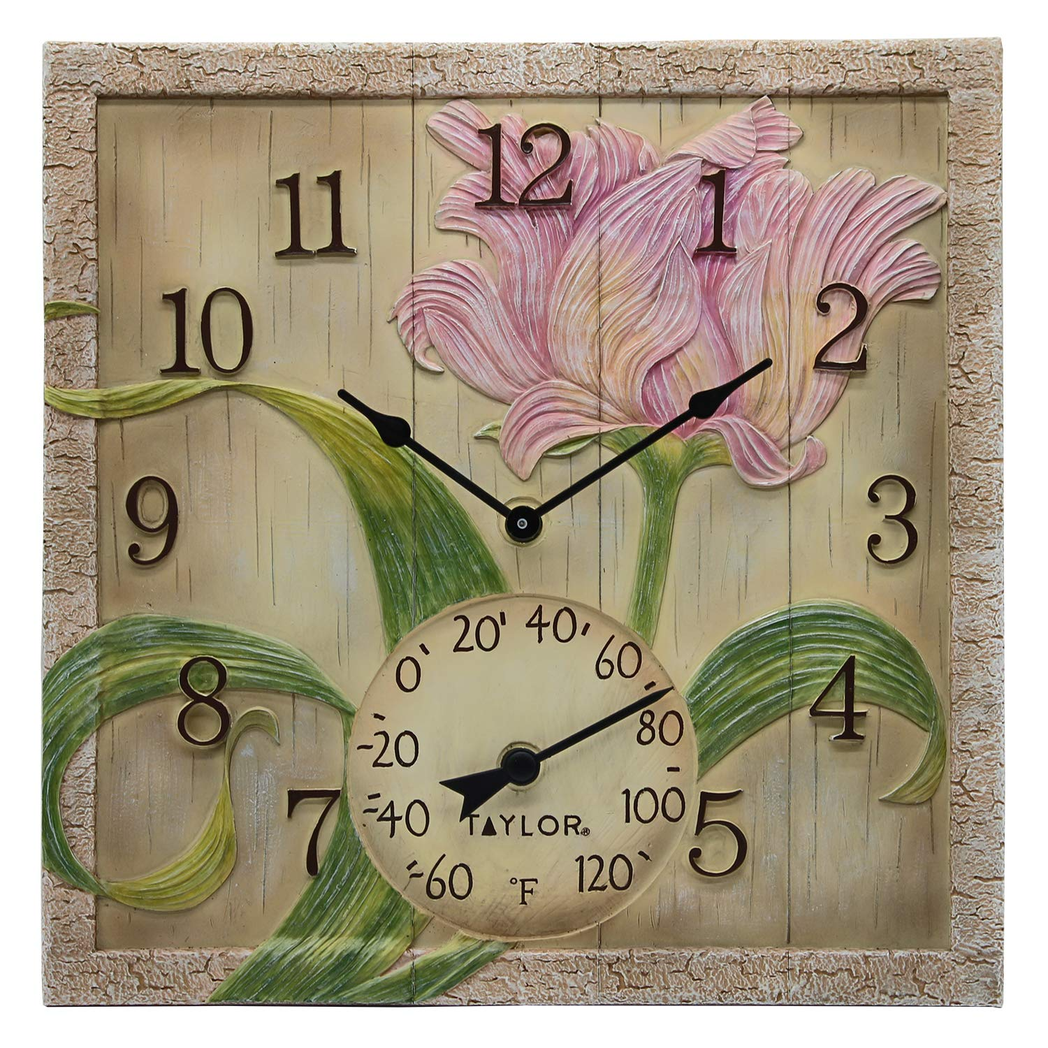 Taylor Precision Products 92691T 14'' x 14'' Poly Resin Beachwood Flower Clock with Thermometer, Multicolored
