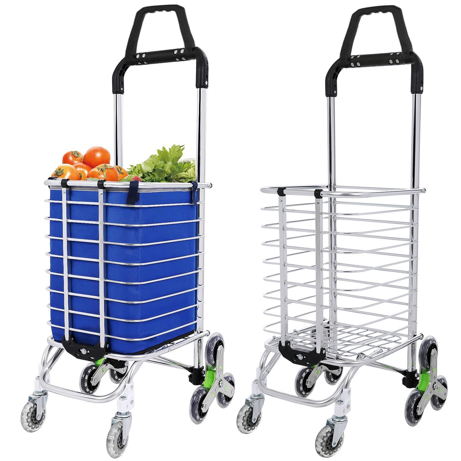 Meoket Folding Shopping Cart Heavy Duty Stair Climbing Grocery Swivel Utility Cart with Tri-wheels and Removable Oxford Cloth Bag