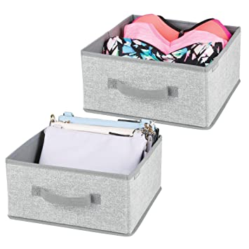mDesign Soft Fabric Modular Closet Organizer Box with Handle for Cube Storage Units in Closet,