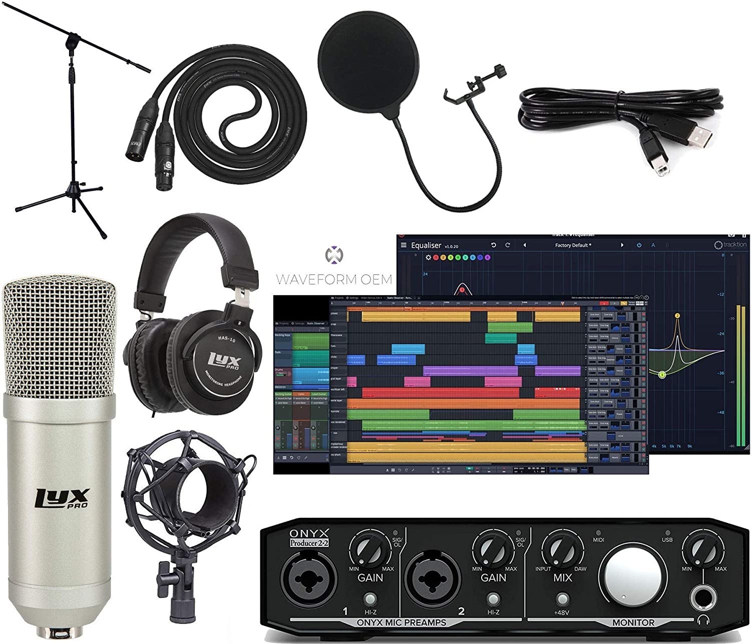 Mackie Onyx Producer 2-2 Audio/Midi interface With Pro Tools First/Tracktion Music Production Software Studio Bundle with Professional Recording Condenser Microphone