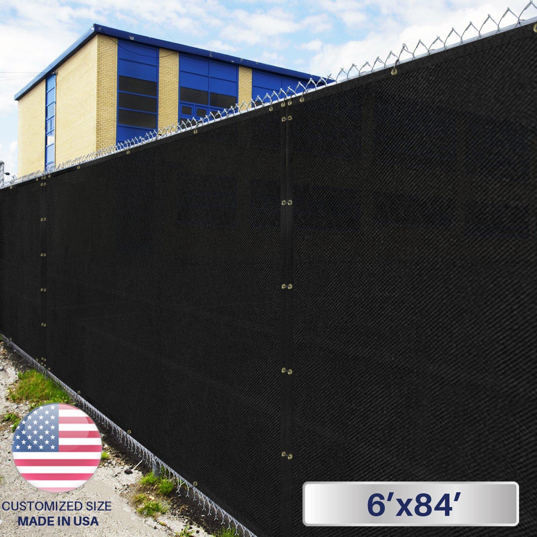 Windscreen4less Heavy Duty Privacy Screen Fence in Color Solid Black 6' x 84' Brass Grommets w/3-Year Warranty 150 GSM (Customized Size)