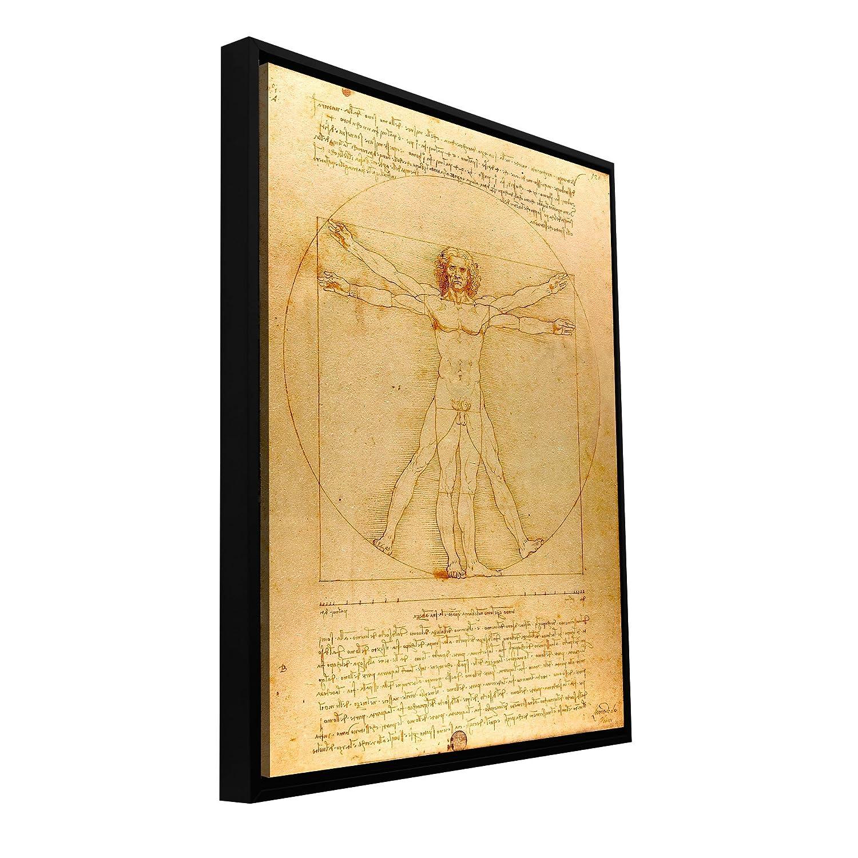 16.5 by 22.5-Inch Image ArtWall Leonardo DaVinci Vitruvian Man Floater Framed Gallery-Wrapped Canvas 18 by 24