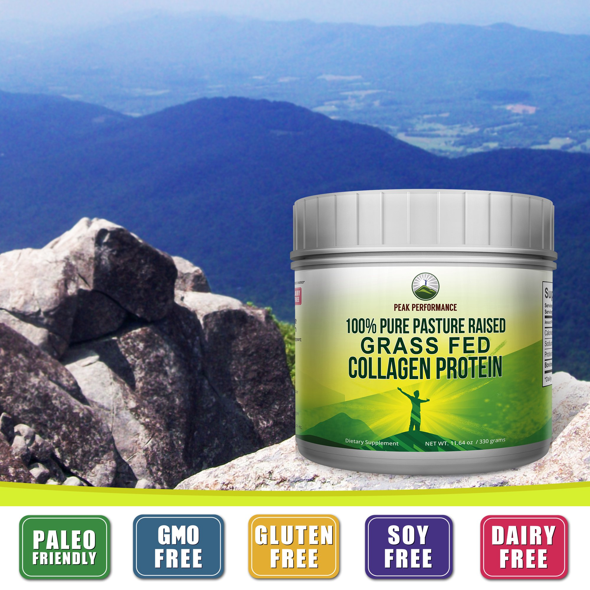 Pure Pasture Raised Grass Fed Hydrolyzed Collagen Protein by Peak Performance. Paleo Friendly, Gluten & Dairy Free Collagen Peptides (Unflavored Collagen) by Peak Performance Coffee (Image #4)