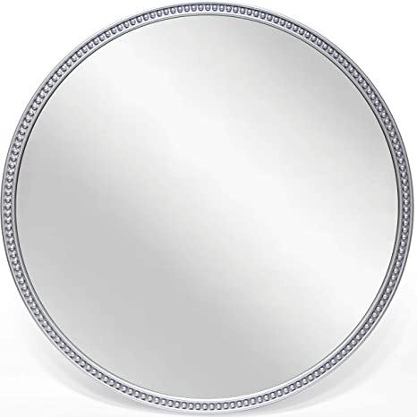 Amazon Com Infinity Instruments Charme 22 Inch Silver Beaded Modern Contemporary Decorative Circle Round Wall Hanging Mirror Home Kitchen