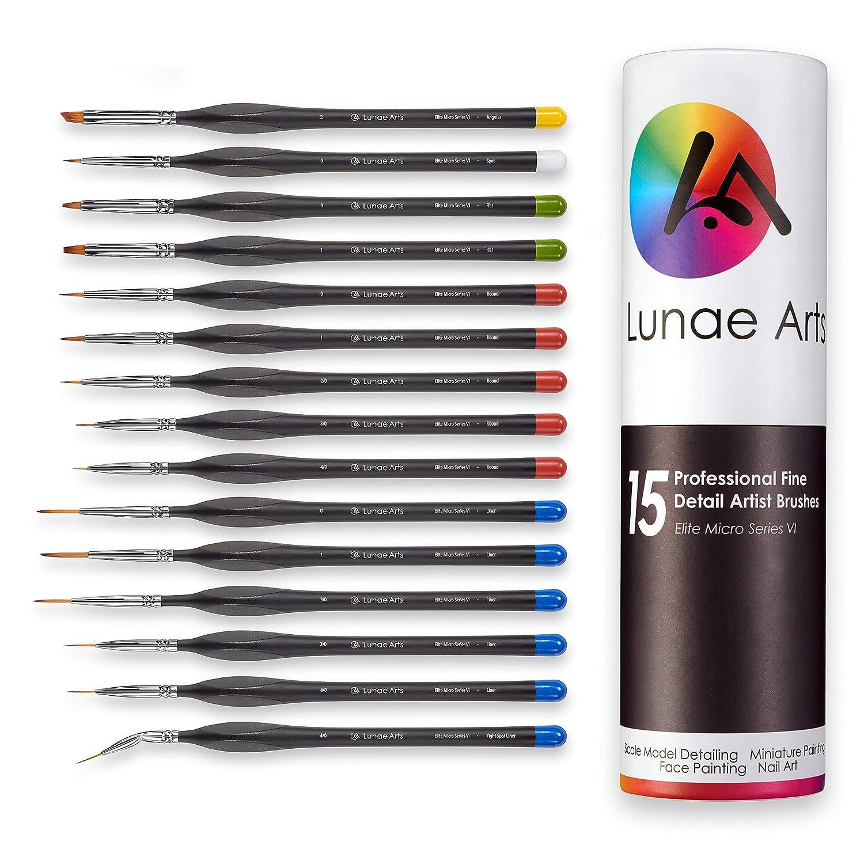 LUNAE ARTS Miniature Fine Detail 15pc Paint Brush Set
