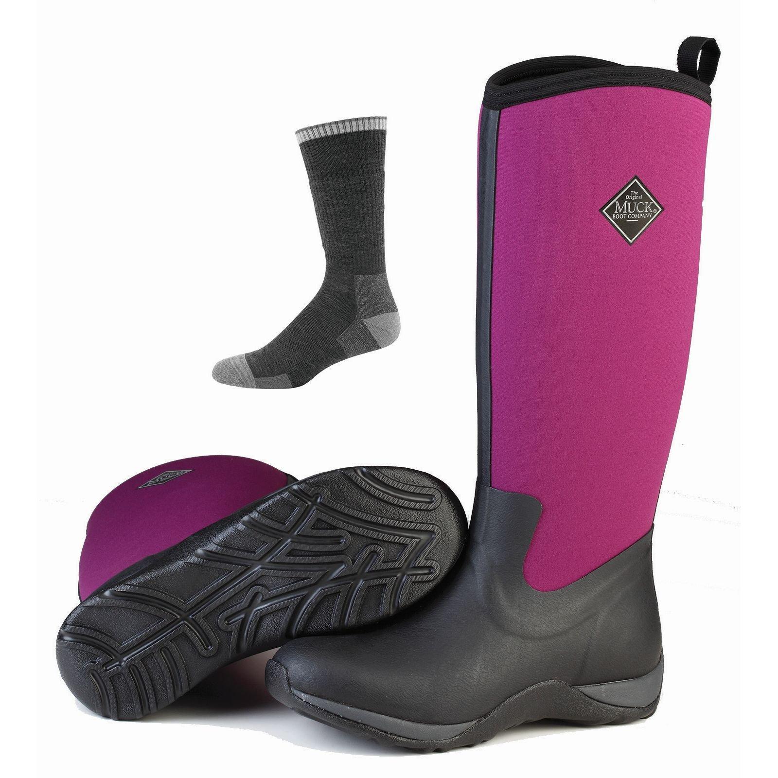 Muck Boot Muck Arctic Adventure Boots Black/Phlox Purple w/Socks - 7