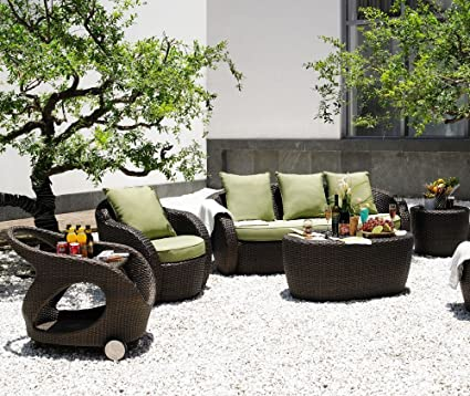 Salon de jardin Oahu, résine tressée chocolat, coussins vert ...