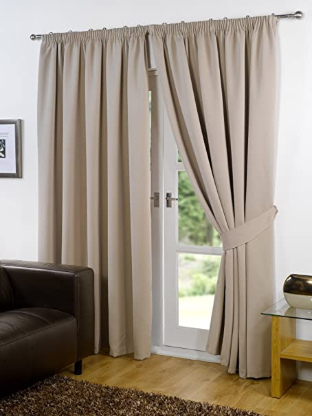 Viceroybedding Pair Of BEIGE 46quot Width X 54quot Drop Supersoft Thermal Blackout Curtains
