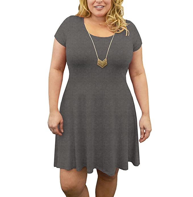 Urban Rose Womens Dress with Necklace - Plus-Size, Short Sleeve ...