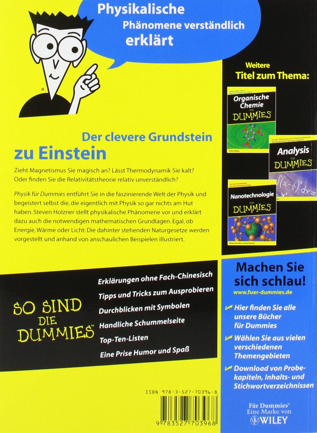 Physik Für Dummies: Amazon.de: Steve Holzner, Michael Bär, Anna Schleitzer:  Bücher
