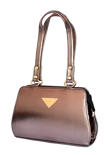 a0c4eaeb Buy STOCK CLEARANCE SALE- Designer Branded Faux Leather Ladies Handbag  Shoulder Bag Satchel in Metallic Silver Online at Low Prices in India -  Amazon.in