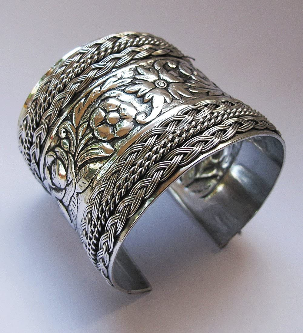 BEAUTIFUL BRACELET SILVER TONE HEIGHT 2 INCHES Fast Free Shipping APPOX.WEIGHT 35.20 G