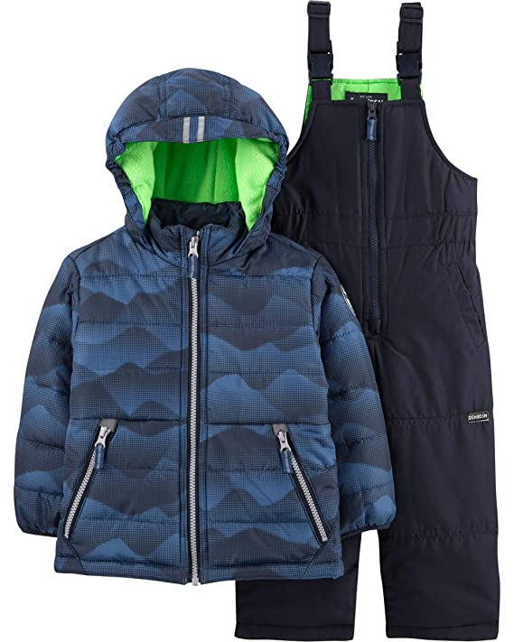 Osh Kosh Boys' Ski Jacket and Snowbib Snowsuit Set (Blue Print, 7) best baby boy snowsuits