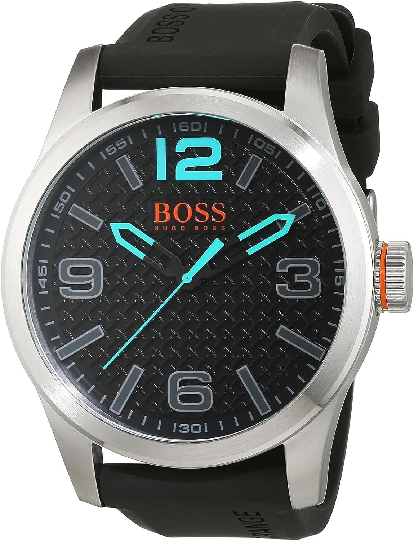 BOSS Orange 1513377 - Reloj de Pulsera para Hombre PARÍS analógico, de Cuarzo, Cuero, Silicona