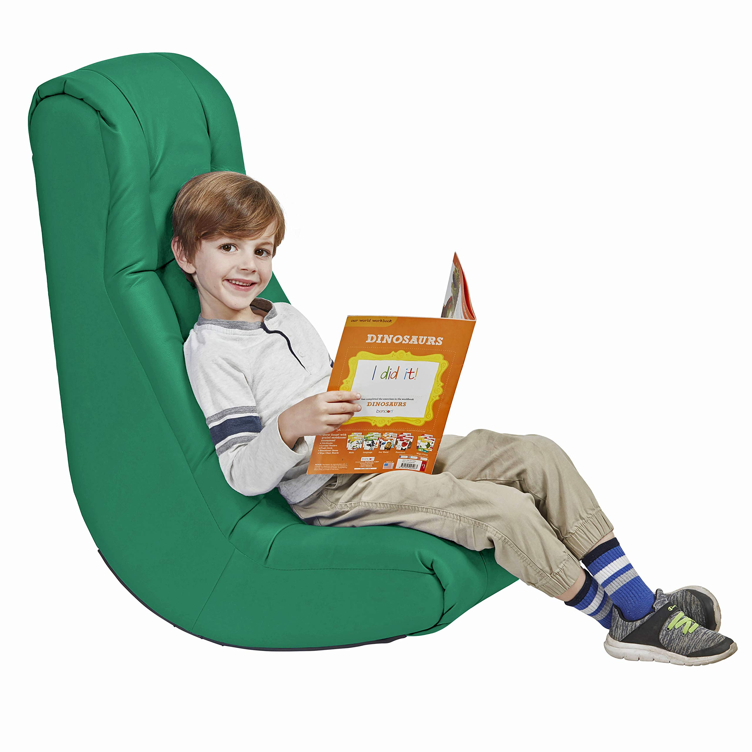 Soft Video Rocker - Cushioned Floor Chair for Kids, Teens and Adults - Great for Reading, Gaming, Meditating, TV - Green