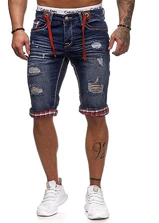 0f1d3a68116d L.Gonline Herren Jeans Bermuda für Den Sommer   Shorts mit Taschen und  Dicken Nähten   Kurze Hose für Herren   Freizeithosen im Modernen Design    Destroyed ...