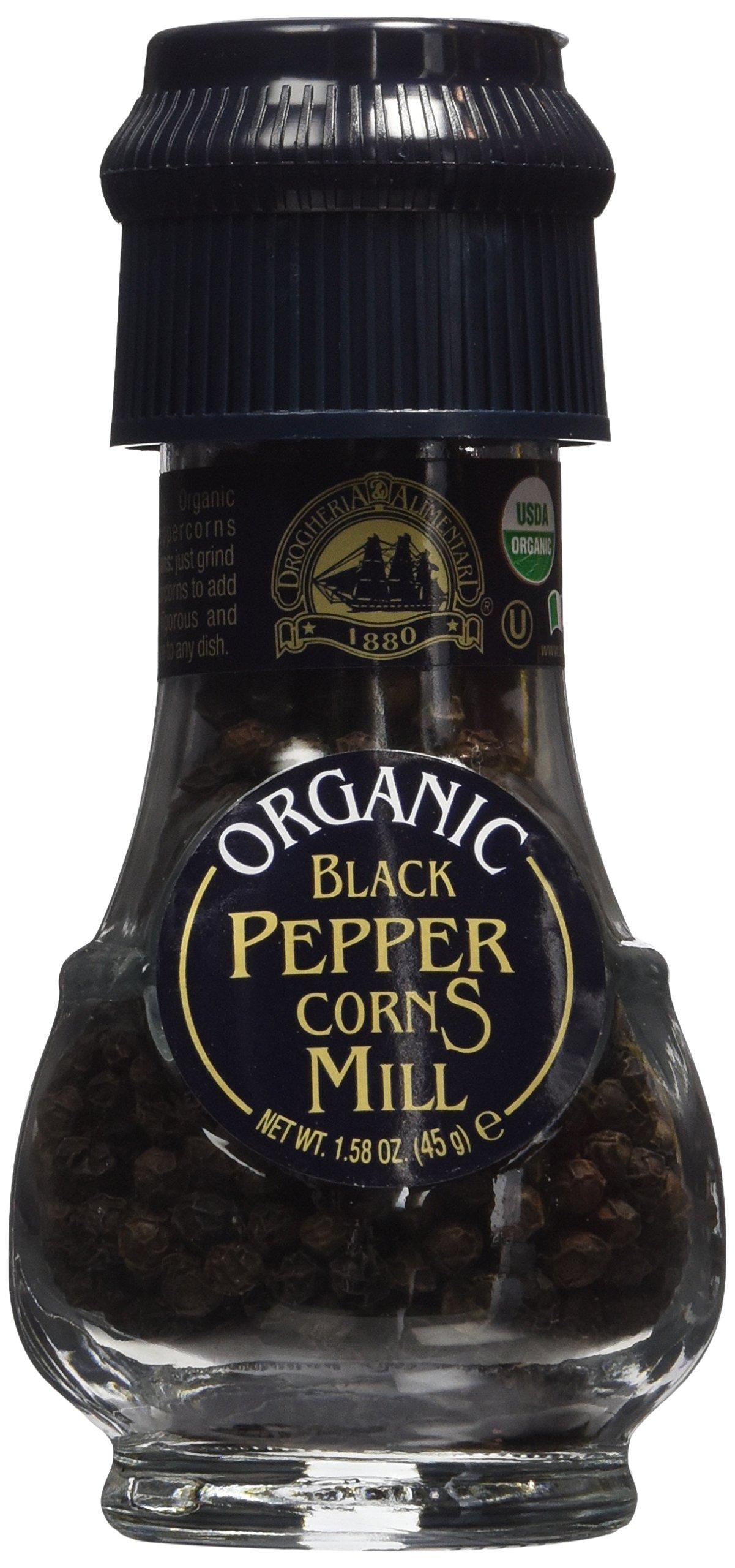 Drogheria & Alimentari All Natural Spice Grinder Black Peppercorns, 1.58 Ounce Jars (Pack of 3)