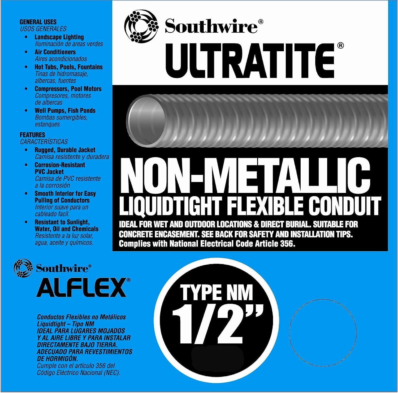 Southwire 55094222 Liqua Flex 1/2-Inch by 50-Feet Non-Metallic Liquidtight Flexible Conduit