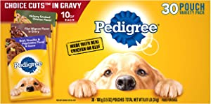 PEDIGREE CHOICE CUTS IN GRAVY Adult Wet Dog Food Variety Pack, Hickory Smoked Chicken Flavor, Filet Mignon Flavor, and Beef, Noodles, & Vegetables Flavor, (30) 3.5 oz. Pouches