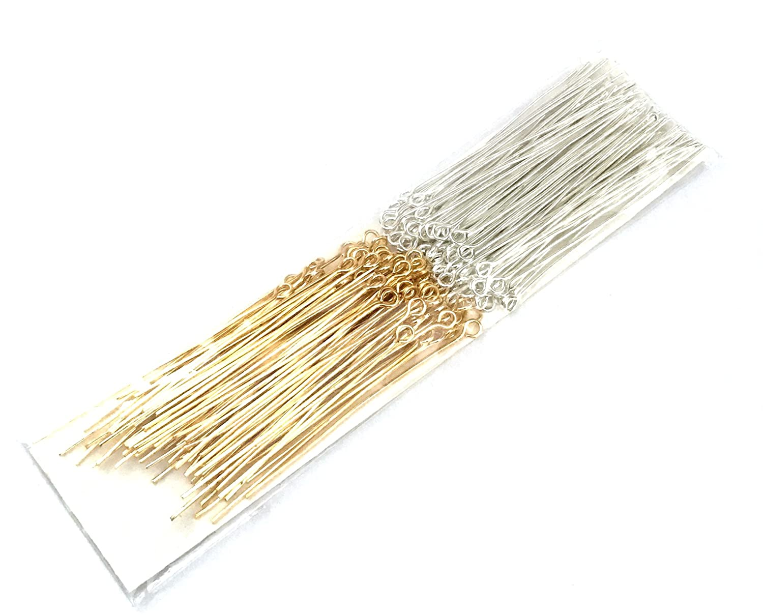 196 pcs 2 colors Silver Plated Gold Eye Pins Jewelry Making Head Tools Pin 30mm Sweet Crafty Tools