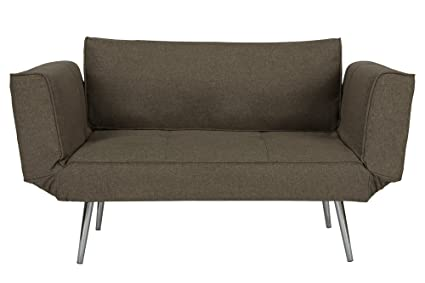 DHP Euro Sofa Futon Loveseat With Chrome Legs And Adjustable Armrests   Gray