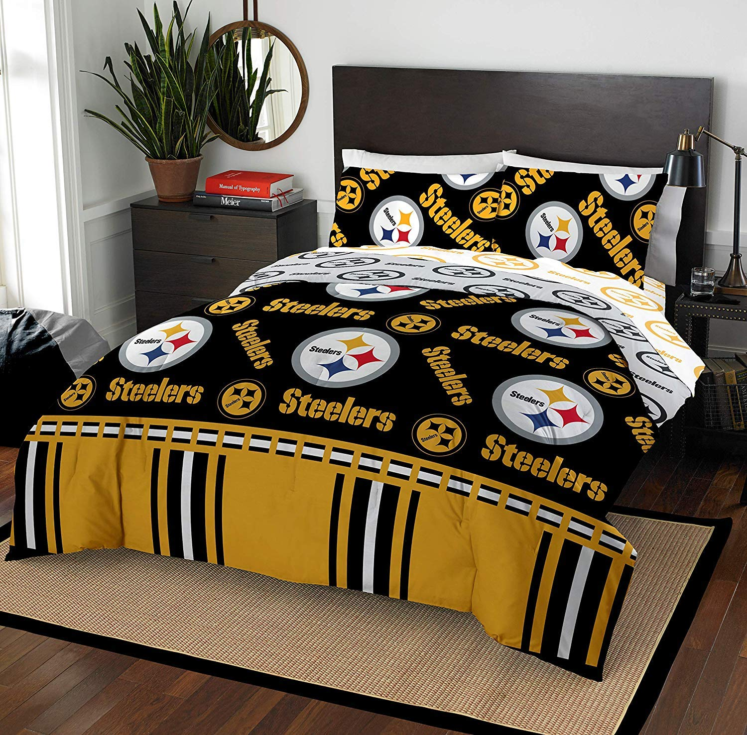 The Northwest Company NFL Pittsburgh Steelers Queen Bed in a Bag Complete Bedding Set #270259180