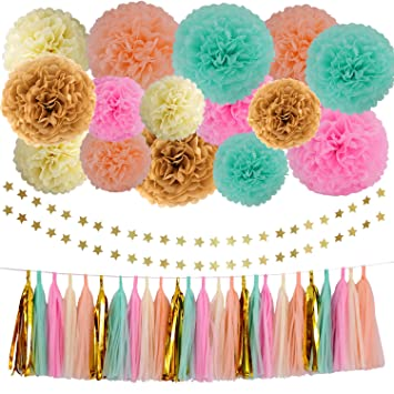 wedding party decorations 42 pcs gold mint green pink peach cream tissue paper pom poms flowers